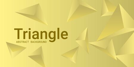 Triangle background. Abstract composition of triangular pyramids. 3D vector illustration . Creative geometric background.  Yellow  three-dimensional triangular pyramids in space. Illustration
