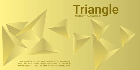 Triangular background. Abstract composition of 3d triangles. 3D vector illustration . Futuristic geometric background.  Yellow  three-dimensional triangle in space. Illustration
