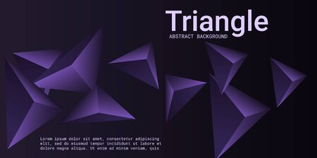 Triangle background. Abstract composition of triangular crystals. Futuristic geometric background.  3D vector illustration . Violet  three-dimensional  triangular crystals in space.