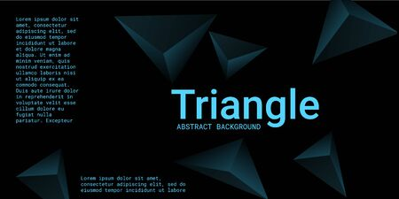 Triangle background. Abstract composition of triangular crystals. Modern geometric background.  3D vector illustration . Turquoise  three-dimensional  triangular crystals in space.