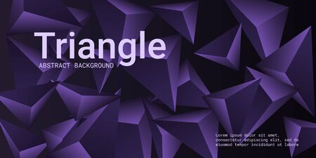 Triangle background. Abstract composition of triangular pyramids. Futuristic geometric background.  3D vector illustration . Violet  three-dimensional triangular pyramids in space.