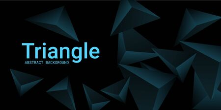 Triangular background. Abstract composition of 3d triangles. 3D vector illustration . Creative geometric background.  Turquoise  three-dimensional triangle in space.