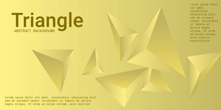 Triangular background. Abstract composition of 3d triangles. Creative geometric background.  3D vector illustration . Yellow  three-dimensional triangle in space. Illustration