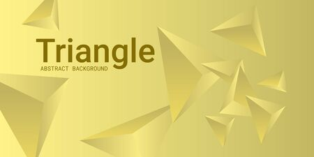 Triangular background. Abstract composition of 3d triangles. 3D vector illustration . Creative geometric background.  Yellow  three-dimensional triangle in space.