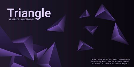 Triangular background. Abstract composition of 3d triangles. Creative geometric background.  3D vector illustration . Violet  three-dimensional triangle in space. Illustration