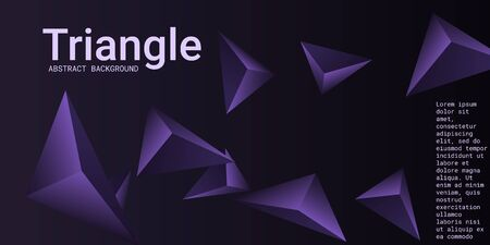 Triangle background. Abstract composition of triangular pyramids. 3D vector illustration . Minimal geometric background.  Violet  three-dimensional triangular pyramids in space.