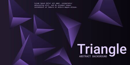 Triangular background. Abstract composition of 3d triangles. Modern geometric background.  3D vector illustration . Violet  three-dimensional triangle in space. Illustration