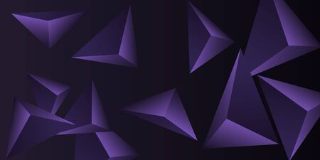 Triangular background. Abstract composition of 3d triangles. 3D vector illustration . Modern geometric background.  Violet  three-dimensional triangle in space.