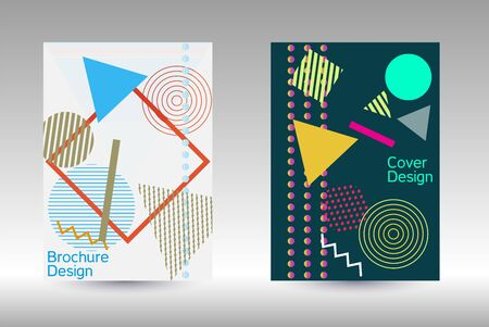 Minimum vector coverage. Modern Memphis background. Artistic geometric cover design. Fashionable cover, banner, poster, booklet. Creative colors backgrounds. Vector.