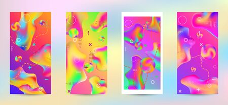 Trendy creative vector space gradient. A set of modern abstract covers. A bright smooth grid is blurred by a futuristic pattern in pink, blue, green, yellow, purple. Ilustração