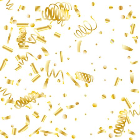 Gold glitter confetti. Light background Shiny abstract texture. Vector abstract graphic design. New Year Christmas. Gold glitter background. Vector elegant invitation template. Celebrate background.