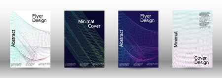 Minimum coverage of a vector. Cover design template set of a with abstract gradient linear waves. Sound flyer for creating a fashionable abstract cover, banner, poster, booklet.