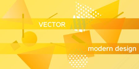 Geometric yellow abstract background with trendy isometric shapes. Minimal universal banner templates in memphis style. Dynamic composition. Vector illustration. Ilustração