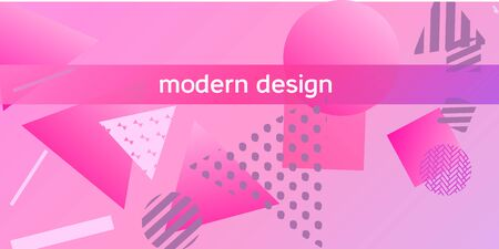 Geometric pink abstract background with trendy isometric shapes. Minimal universal banner templates in memphis style. Minimalistic pink background design with dynamic shapes. Vector illustration.