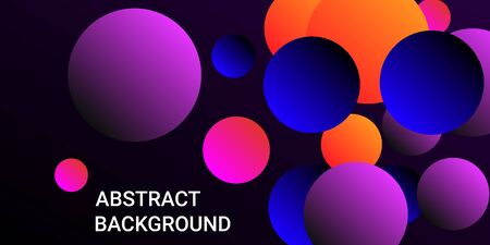 Gradients of balls shapes. Minimal coating design. Vector geometric illustration. Halftone, 3d. Abstract background of blue, purple, red, orange gradients beads shapes.