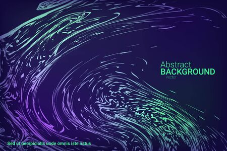 Glowing dynamic fluid particles in a flat style on a dark background.  Holiday concept. Liquid wave modern background. Abstract vector illustration.
