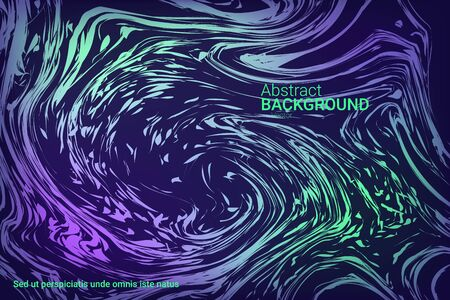 Glowing dynamic fluid particles in a flat style on a dark background.  Abstract template.  Liquid wave modern background. Colorful vector illustration for poster design. Ilustração