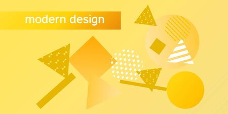 Geometric yellow abstract background with trendy isometric shapes. Minimal universal banner templates in memphis style. Minimalistic yellow background design with dynamic shapes. Vector illustration.