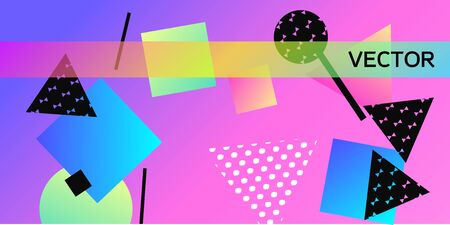 Geometric abstract background with trendy isometric shapes. Minimal universal banner templates in memphis style. Abstract minimalistic background design with dynamic shapes. Vector illustration.