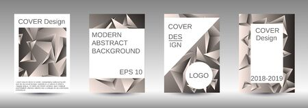 Minimum vector coverage. A set of modern abstract covers. Creative beige triangle element vector. Geometric booklet cover template design. Ilustracja