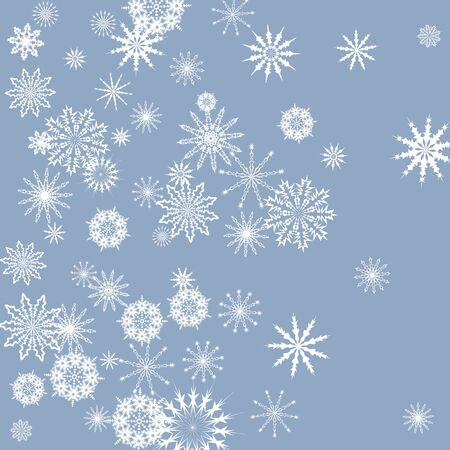 Snowflakes falling on a blue sky background. Winter vector background. The effect of decorating snowflakes.