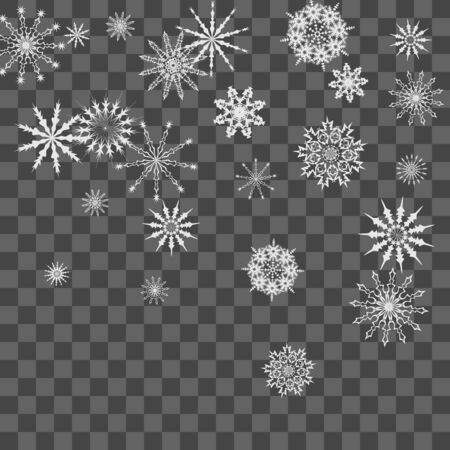 Snowflakes fall on the background. Winter vector background. The effect of decorating snowflakes. The winter vacation. Well suited for a Christmas card, banner or poster.