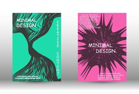 Minimal vector coverage. A set of trendy covers. Wave lines.Striped background. Trendy geometric patterns. Vector Design. Vektoros illusztráció