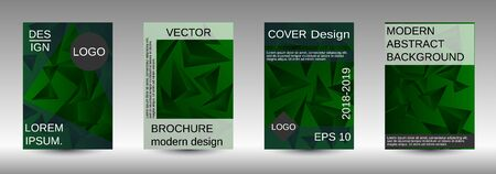 Minimum vector coverage. A set of modern abstract covers. Creative green triangle element vector. Geometric booklet cover template design.
