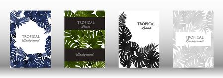 A set of tropical covers. Colorful tropical leaves patterns. Summer graphic background. Modern Front Page in Vector Ilustracja