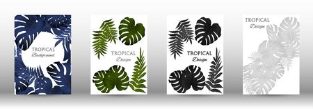 Tropic covers set.  Colorful tropical leaves patterns. Exotic botanical design. Modern Front Page in Vector Ilustracja