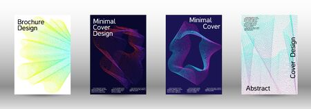 Minimum coverage of a vector. Cover design template set of a with abstract gradient linear waves. Vector sound flyer for creating a fashionable abstract cover, banner, poster, booklet.