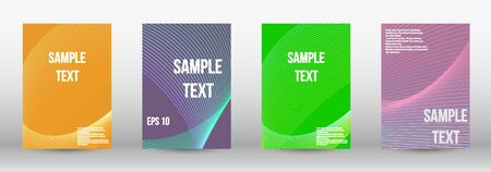 Minimum vector coverage.  A set of modern abstract oblong objects from vector abstract lines. Geometric template with lines for booklet cover. Trendy geometric patterns. Vector Design.