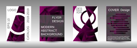 Modern design template. A set of modern abstract covers. Creative purple triangle element vector. Geometric booklet cover template design.
