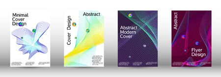 Minimum coverage of the vector. Cover design.  A set of modern abstract oblong objects from vector abstract lines. Ilustração