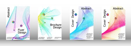 Minimum coverage of a vector. Cover design.  A set of modern abstract oblong objects from vector abstract lines. Ilustracja