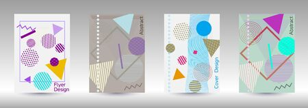 Minimum vector coverage. Modern Memphis background. Artistic geometric cover design. Fashionable  cover, banner, poster, booklet. Creative colors backgrounds. Ilustracja
