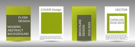 Stylish brochure design template set.  Abstract cover. Positive design template. Creative backgrounds with abstract gradient linear waves to create a fashionable  banner, poster. Ilustracja