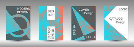 Modern abstract background. A set of modern abstract covers. Creative blue triangle element vector. Geometric booklet cover template design.