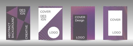 Stylish brochure design template set.  Abstract cover. Positive design template. Creative backgrounds with abstract gradient linear waves to create a fashionable  banner, poster. Иллюстрация