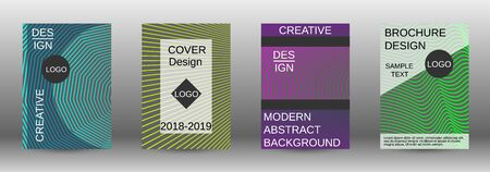 Cover design template set. Abstract cover. Positive design template. Creative backgrounds with abstract gradient linear waves to create a fashionable  banner, poster. Иллюстрация