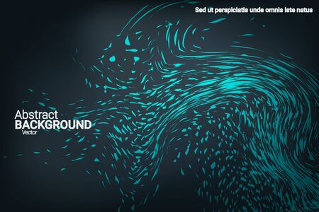 Glowing dynamic fluid particles in a flat style on a dark background.  Abstract template.  Liquid wave modern background. Abstract vector illustration.