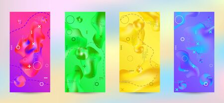 Trendy creative vector space gradient. A set of modern abstract covers. A bright smooth grid is blurred by a futuristic pattern in pink, blue, green, yellow, purple. Illusztráció