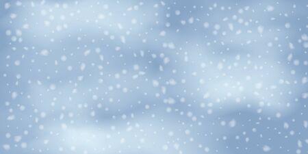 Winter  sky falling on light background. Falling Christmas Shining white transparent beautiful snow. Happy new year decoration. Snowflakes, snowfall. Standard-Bild - 134792050