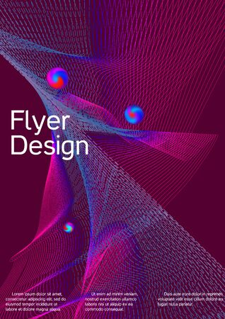 Minimal vector cover design with abstract gradient linear waves. Cover design. Sound flyer for creating a fashionable abstract cover, banner, poster, booklet.