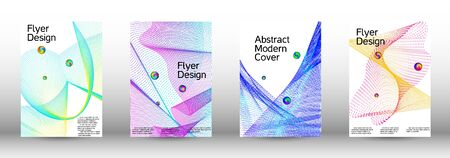 Minimal vector cover design with abstract gradient linear waves. Cover design.  A set of modern abstract oblong objects from vector abstract lines.