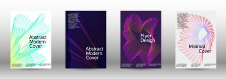 Minimum coverage of a vector. Cover design template set of a with abstract gradient linear waves. Vector sound flyer for creating a fashionable abstract cover, banner, poster, booklet. Zdjęcie Seryjne - 134855909