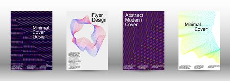 Electronic music festival poster. Cover design template set of a with abstract gradient linear waves. Vector sound flyer for creating a fashionable abstract cover, banner, poster, booklet. Zdjęcie Seryjne - 134855926
