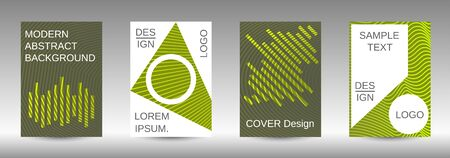 Cover design template set. Abstract cover. Positive design template. Creative backgrounds with abstract gradient linear waves to create a fashionable  banner, poster. Ilustração