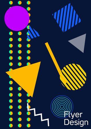 Minimum vector coverage. Modern Memphis background. Artistic geometric cover design. Fashionable  cover, banner, poster, booklet. Creative colors backgrounds. Ilustração