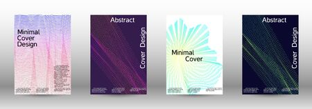 Minimum coverage of a vector. Cover design template set of a with abstract gradient linear waves. Vector sound flyer for creating a fashionable abstract cover, banner, poster, booklet. Zdjęcie Seryjne - 134855759